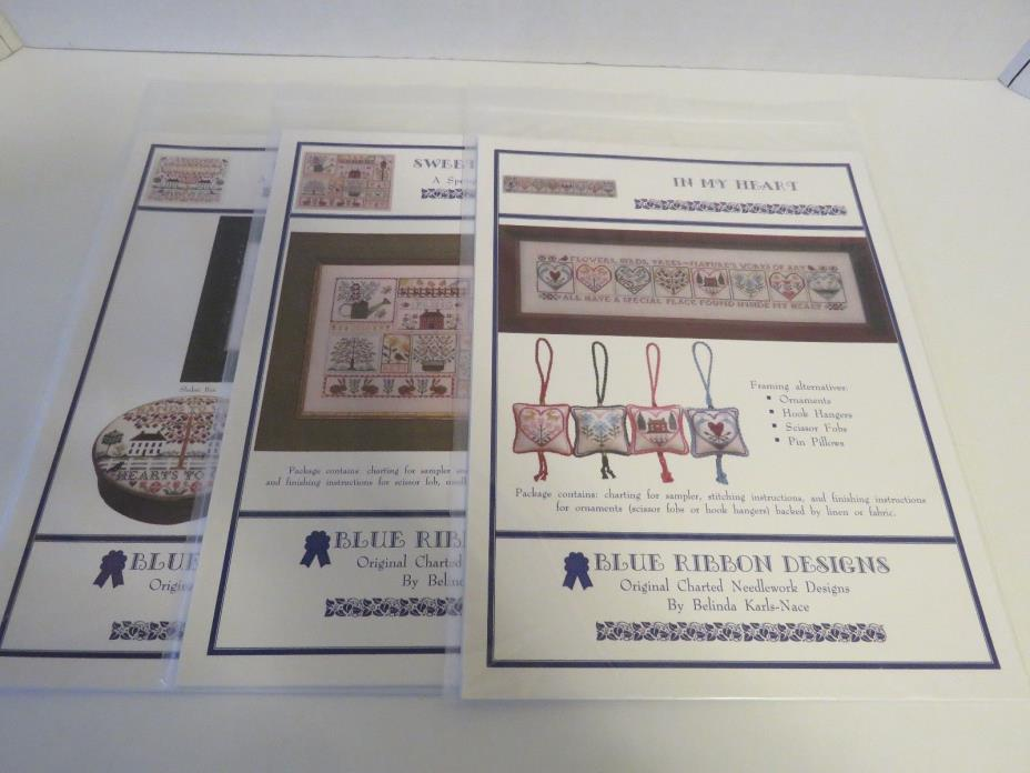 Lot 3 Blue Ribbon Designs Counted Cross Stitch Spring Beauty Simplicity Heart