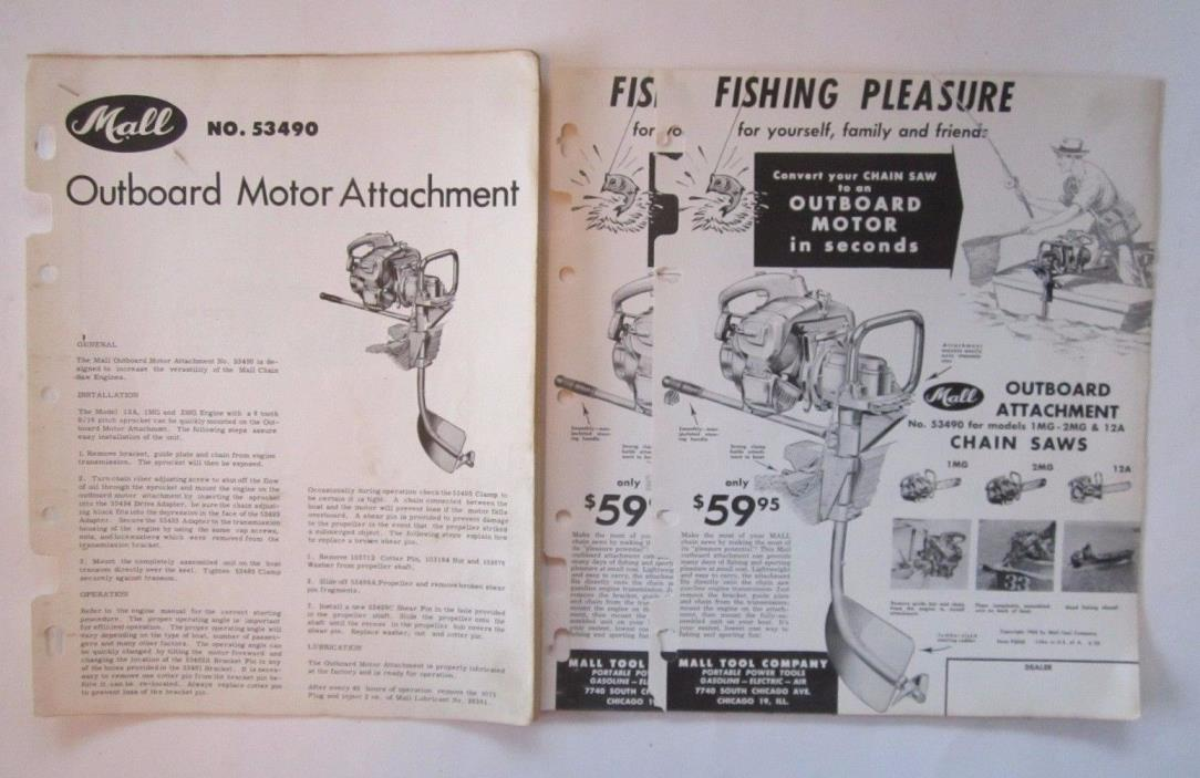 1950's MALL Outboard Motor Attachment for Chainsaws Manual & Advertising