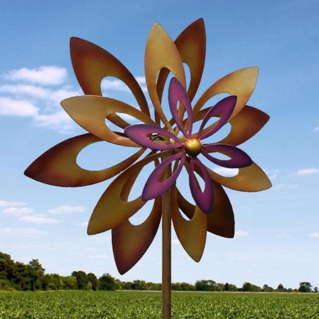 Windmill Outdoor Decor Garden Spinner Stake Dancing Sun Flower Rustic NEW