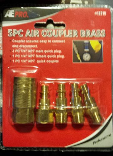 ATE PRO 5pc Brass Quick Coupler Set Air Hose Connector Fittings 1/4