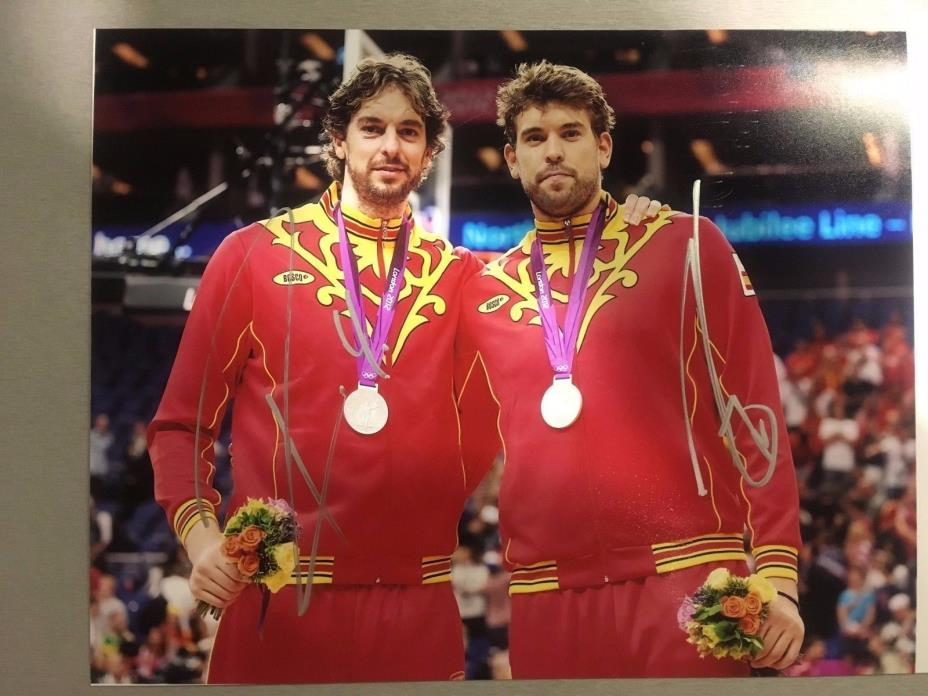 Pau Gasol and Marc Gasol Autographed/Signed Photo 8x12 NBA ALL STAR Spain