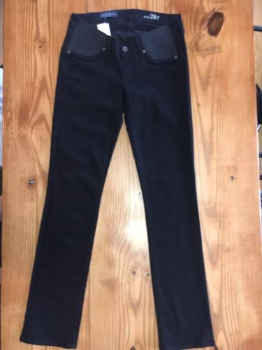 J CREW Tall stretch maternity matchstick jean in pitch black wash 28T $135