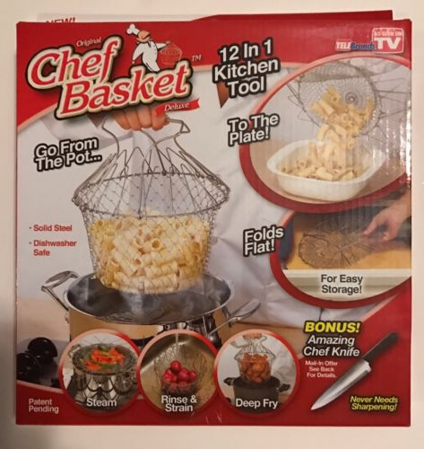 Chef Strain Fry Frying Basket Strainer Foldable Kitchen Tool As Seen On Tv