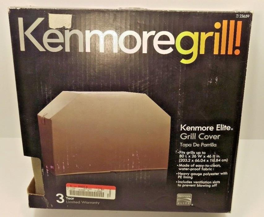 NEW Kenmore Grill Cover Tan 23659 80L x 26W x 46H Push Lock Secure Fit Bottom