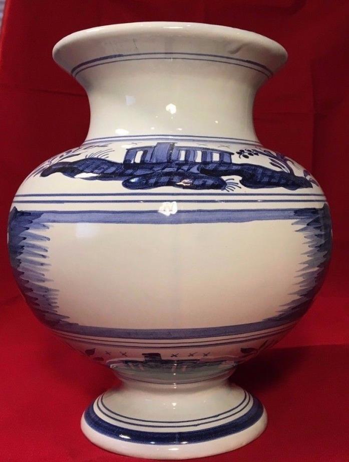 DELFT Williamsburg Cobalt Blue White Porcelain APOTHECARY Jar Vase  Holland