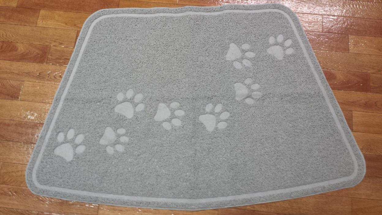 PVC Gray Pet Paw Print Mat USA Placemat Dog Cat Food Water 35