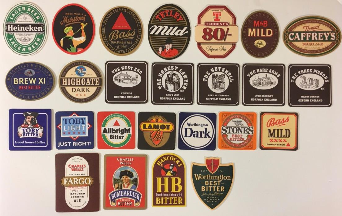 Beer Coasters Mixed Lot of 25 / Man Cave Barware - All New and Different Lot #2