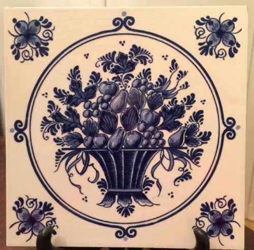 Vintage 1970s Dutch Delft Blauw Pottery Tile • Hand Painted Fruit And Flowers
