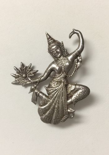 Vintage Siam Sterling Silver Dancing Lady Brooch