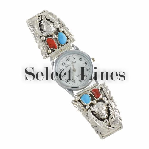 Sterling Silver Turquoise & Coral Buffalo Watch Navajo Native American Jewelry
