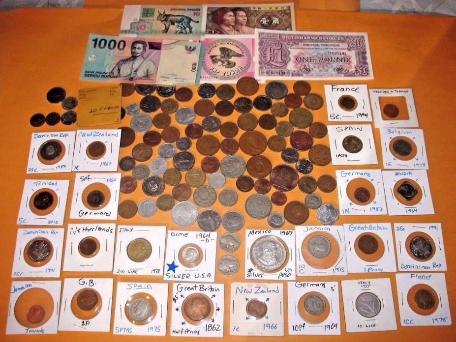 1862+ WORLD COINS + BANKNOTES LOT!! 2 SILVER COINS! EXCELLENT COLLECTION!! (53d)