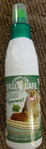 PETZLIFE SPRAY PEPPERMINT 4 oz Removes Bad Breath Plaque Tarter Teeth Dog Cat