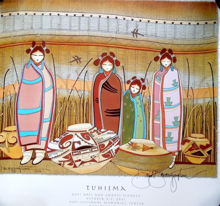 "SIGNED  Print Poster ""Sikayatki Potters"" David Dawangyumptewa  2001 Hopi Market"