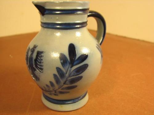 Small Blue Decorated Stoneware Pitcher