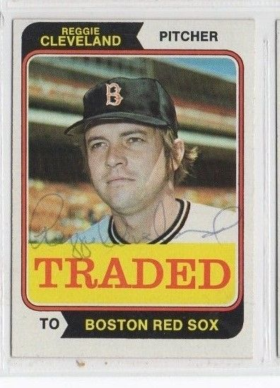 Reggie Cleveland 1974 Topps Traded signed auto autographed card Red Sox