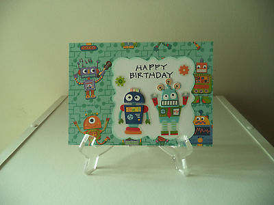 handmade greeting card - (Birthday)  Happy Birthday robots