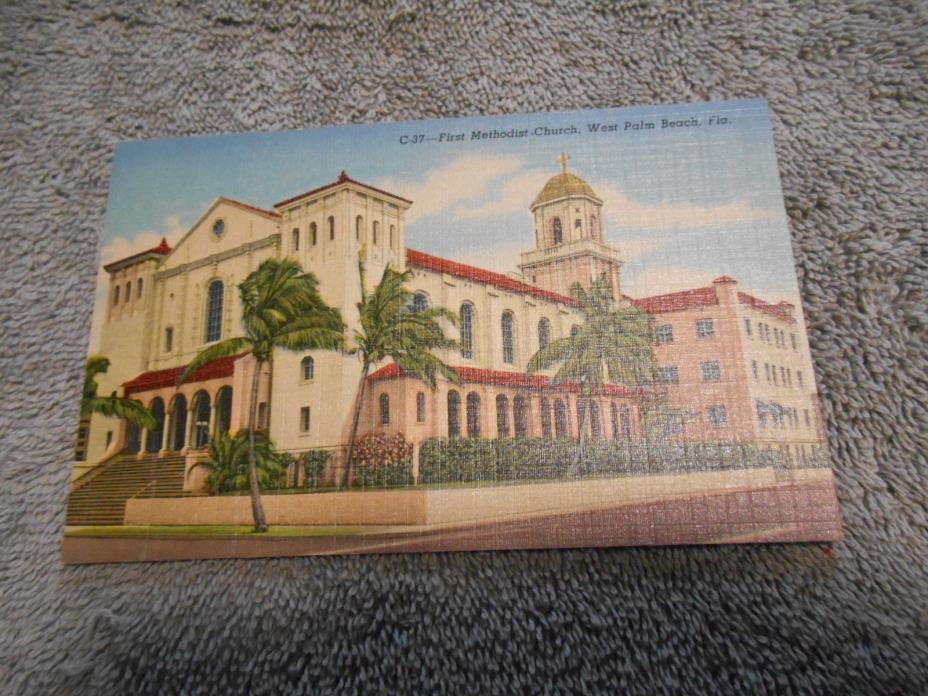 POST CARD - ( C ) FIRST METHODIST CHURCH - WEST PALM BEACH, FLA
