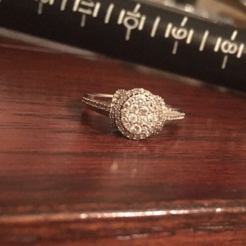 10k White Gold Pave Diamond Ring Size 7.25