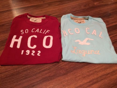 Men's Hollister T Shirts Small Red Blue Lot Pair
