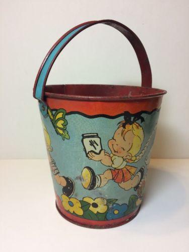 Vintage Ohio Art Tin Pail Bucket Metal Children Kids Butterflies