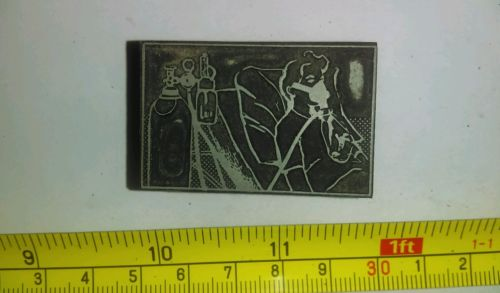 Vintage Letterpress Printing Block Sick Person Hospital Bed On Oxygen Tank Rare