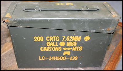 AMMO CAN, SURPLUS MILITARY, METAL STORAGE BOX