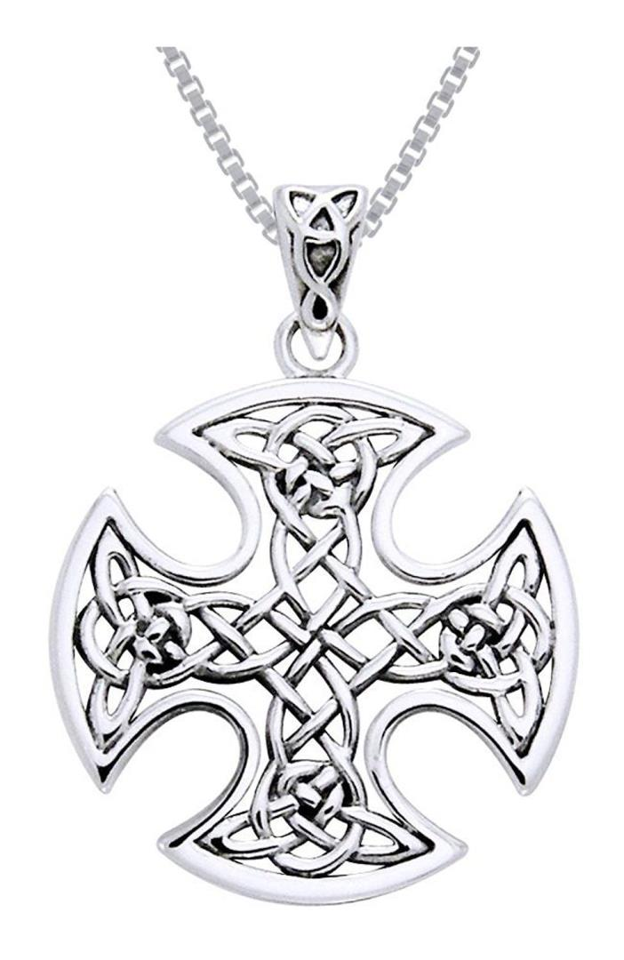 Sterling Silver Celtic Knot Cross Iron Cross Valor Pendant With 18 In Chain NEW