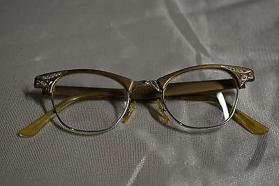 Vintage Women's Art Craft Aluminum Cat Eye Eyeglass Frames 4 1/4  5 1/2 U.S.A.