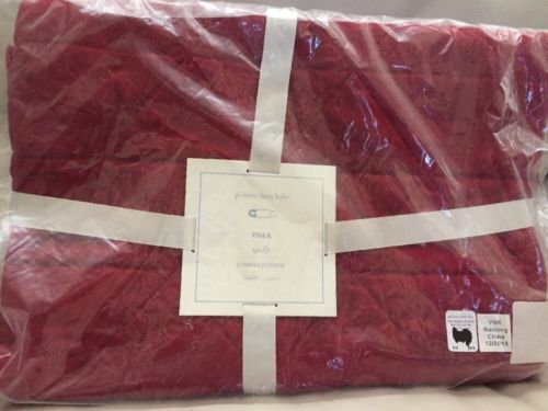 1 Pottery Barn Kids Max Nursery Crib Quilt Toddler Bedding NWT Red