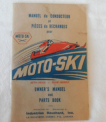 1968 MOTO-SKI SNOWMOBILE OWNERS MANUAL AND PARTS BOOK FOR THE HIRTH MOTOR
