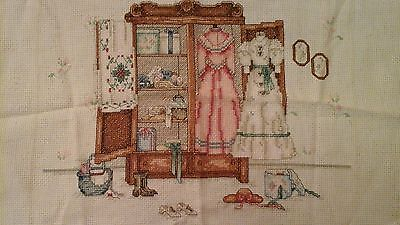 Vintage Cross Stitch Picture WO Frame Victorian Closet 80's