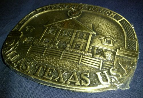 VINTAGE 1980, SOUTHFORK RANCH  DALLAS, TEXAS SOLID BRASS BELT BUCKLE NEW