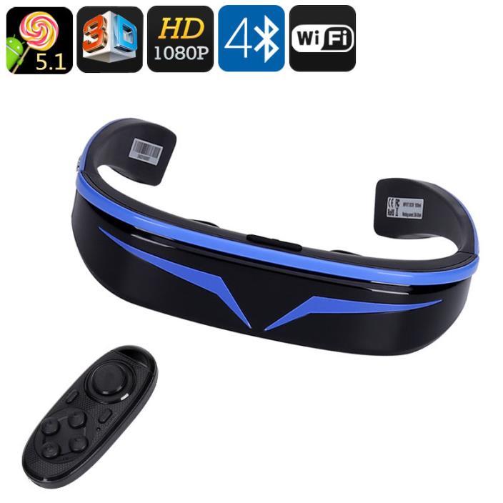 3D Smart Video Glasses 98 Inch Virtual Display 1080P Google Play WiFi Bluetooth
