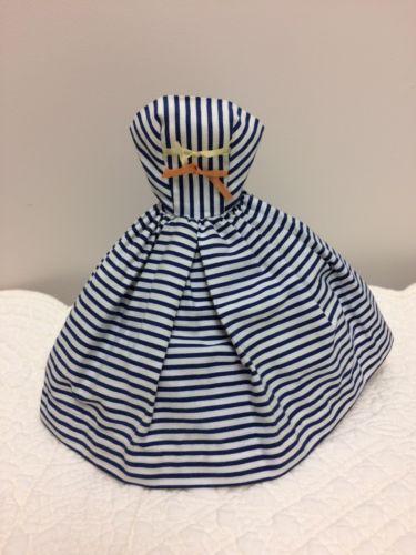VINTAGE 1960's BARBIE DOLL BLUE & WHITE STRIPES COTTON DRESS W/BOWS #912