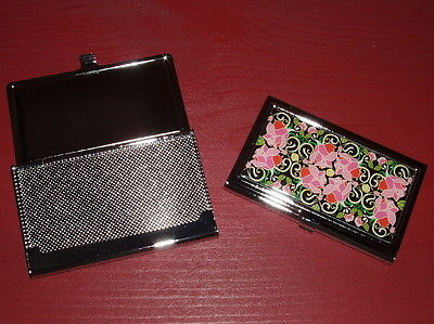 Pretty Ladies' Silver with Rose Floral Inset Business / Credit Card Holder