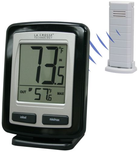 LaCrosse Technology WS9009BKITCBP Black Wireless Temperature Station