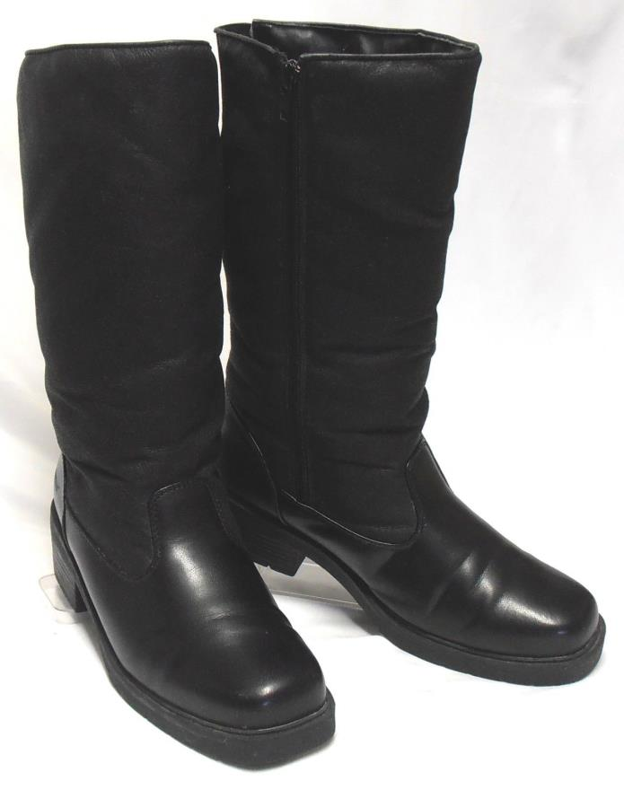 WEATHERPROOF Size 9 M Black Synthetic Waterproof Side-Zip Warm High-Calf Boots