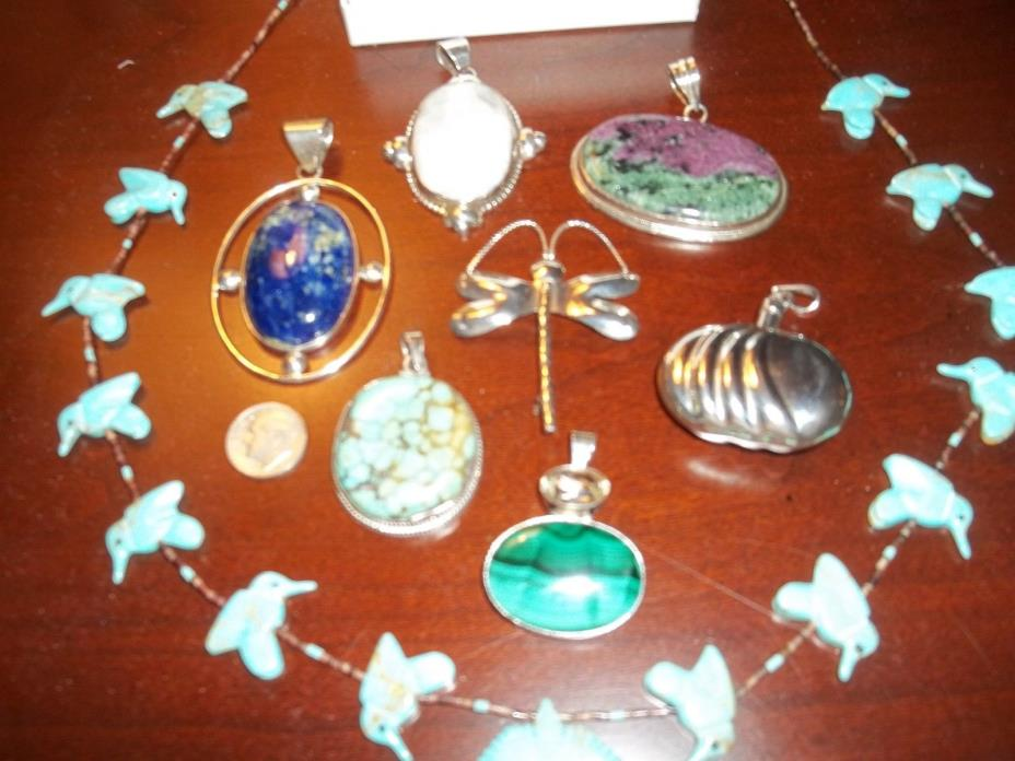 Sterling Silver .925 Jewelry Pendants Pin Turquoise Gemstone Lot Vintage