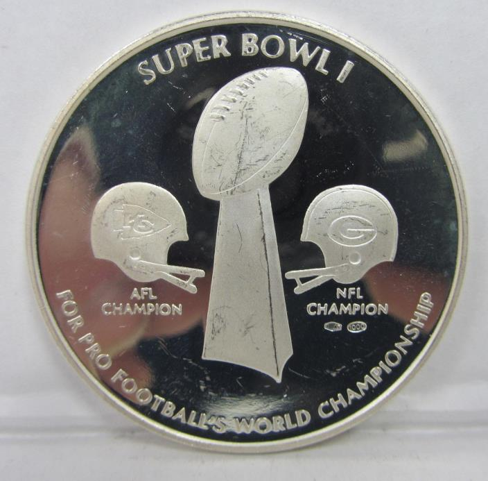 SUPER BOWL I SILVER COMMEMORATIVE PROOF COIN - ALMOST TWO OUNCES!