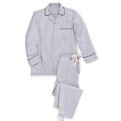 The Mens MAGEE Irish Flannel Pajamas Navy White Stripe Size Small (46)