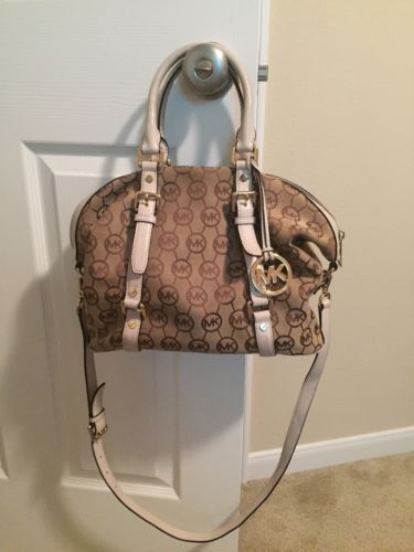 Michael Kors Purse White With gold accents MK Logo Pattern