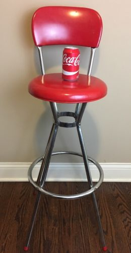 Vintage Original  Cosco Bar Stool Chair Red - Swivel Top - Steampunk