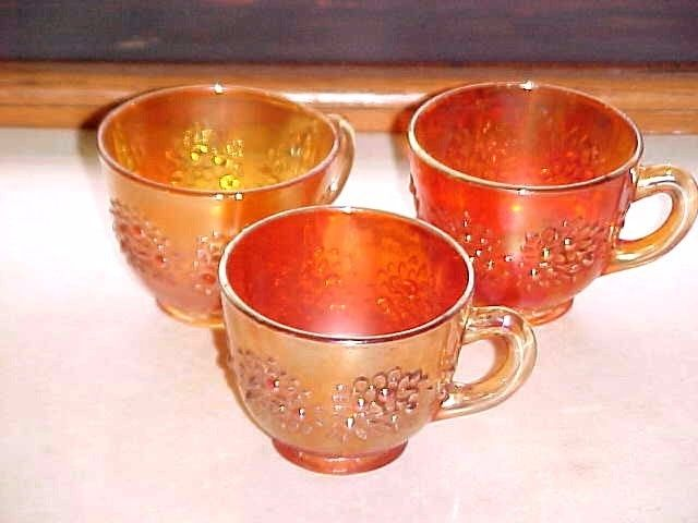3 FENTON CARNIVAL GLASS ORANGE TREE PUNCH CUPS-EXCELLENT