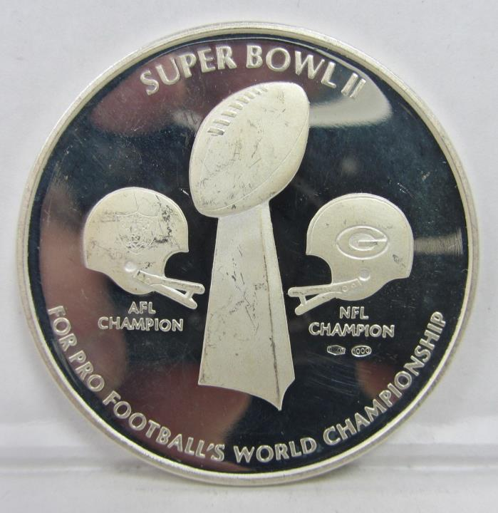 SUPER BOWL II SILVER COMMEMORATIVE PROOF COIN - ALMOST TWO OUNCES!