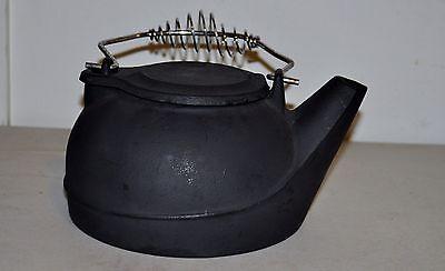 Black Cast Iron Kettle Humidifier Vintage Wood Stove Pot Steamer