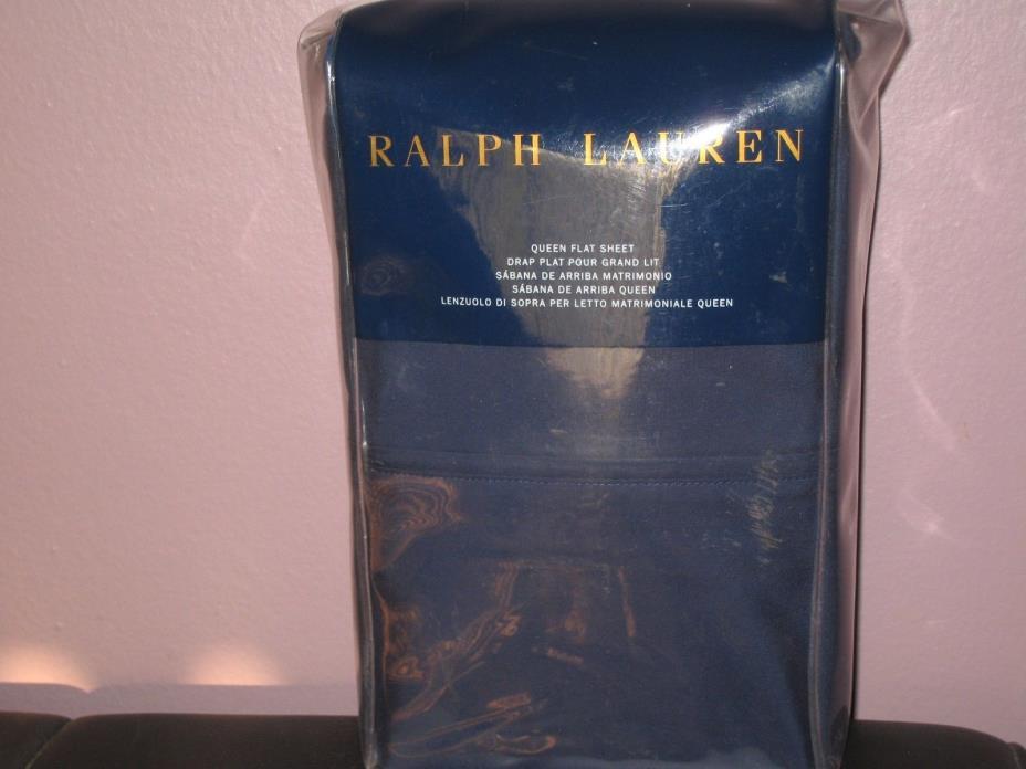 Ralph Lauren 464 Solid Percale  Flat Sheet - Queen - Polo Navy