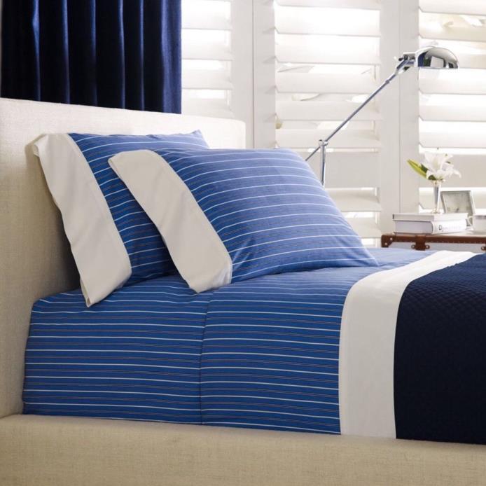 Ralph Lauren Cambridge Off Sunset Blue Stripe  Flat Sheet - Queen