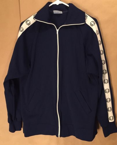 Vtg Fred Perry Navy White Nylon Zip Up Track Jacket Sz M Sportswear