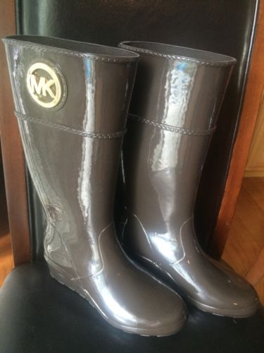 New! Michael Kors Brown Rubber Stockard Wedge Rain Boots Size 6