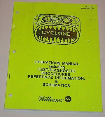 Williams Cyclone pinball machine manual original